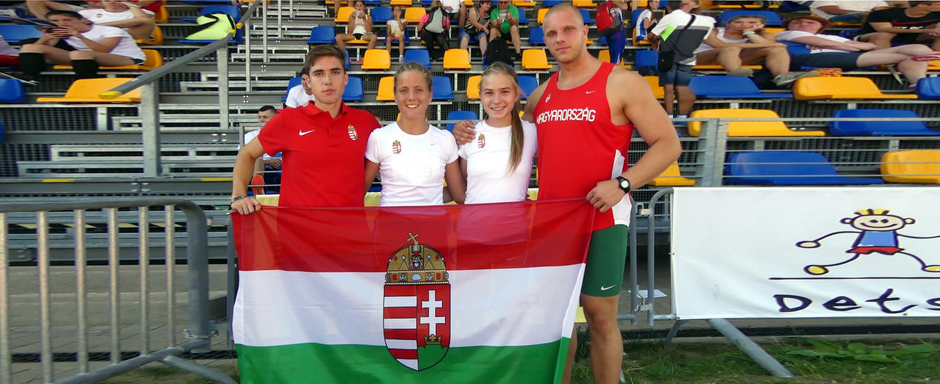 U20-as válogatott 2017: Diószegi Dávid, Pavuk Tíra, Novák Natália, Szebegyiszki Richárd